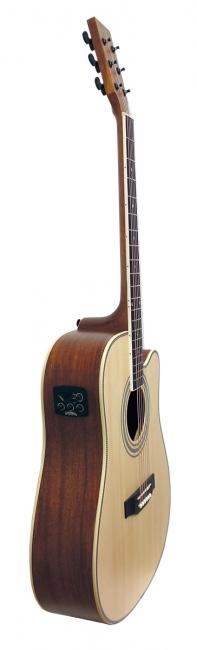 Santana LA100 Western Guitar - Cutaway EQ, Pickup, m/Taske Natur