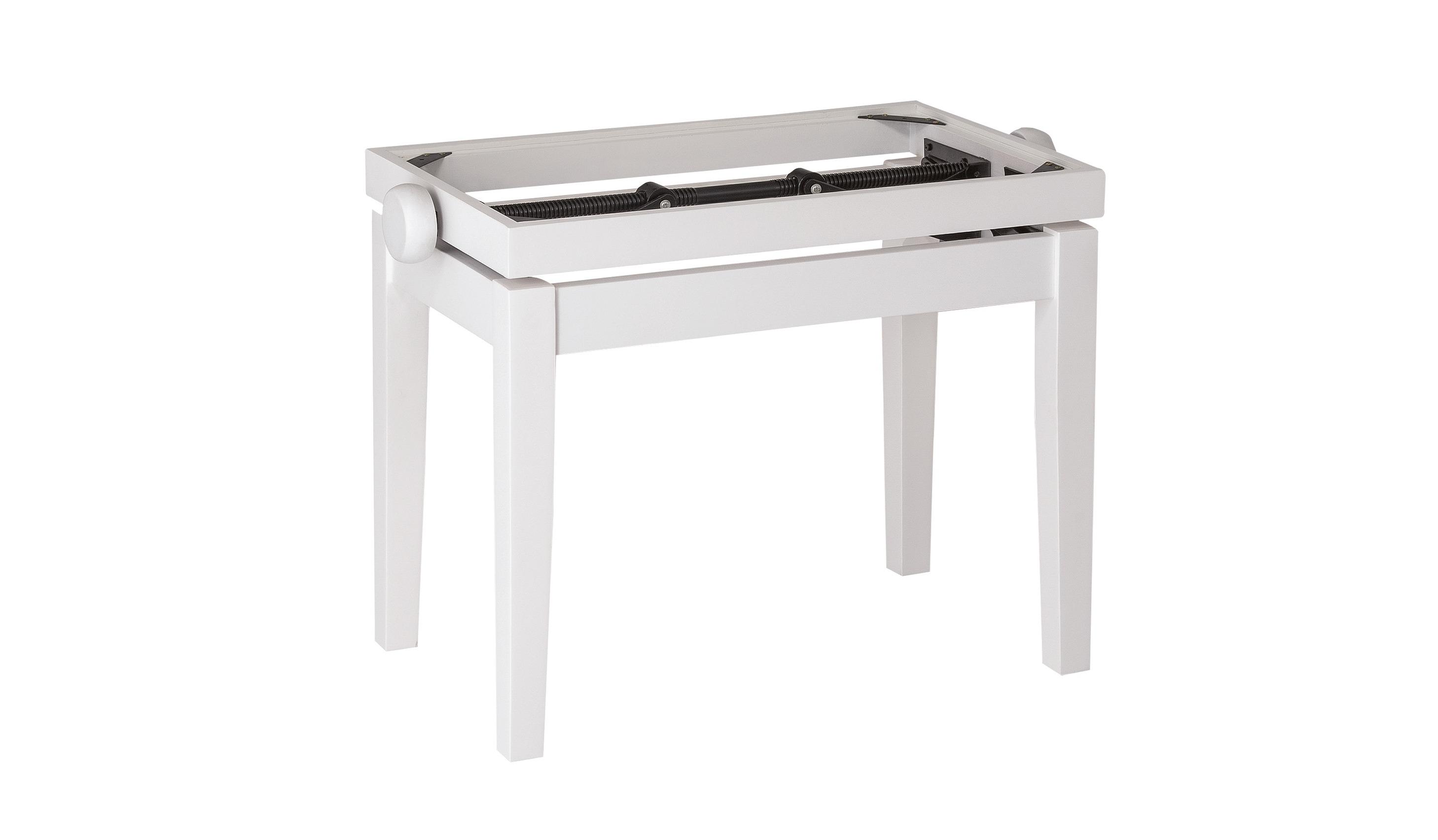 Image of   K&M pianobænk justérbar, hvid mat glans, uden polster