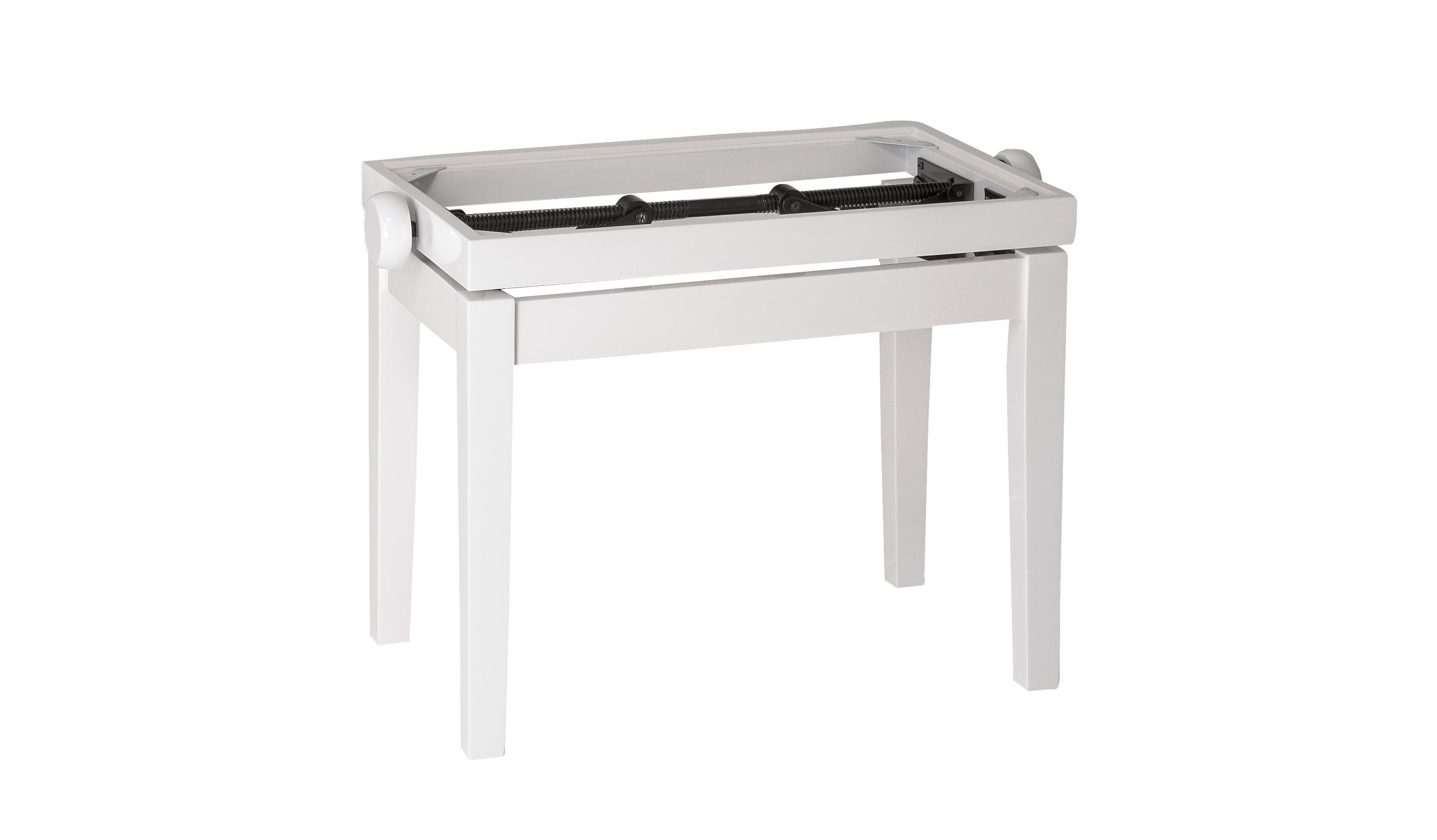 Image of   K&M pianobænk justérbar, hvid højglans, uden polster