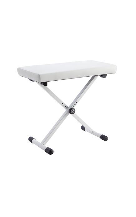 Image of   K&M keyboardbænk i hvid imitations-læder
